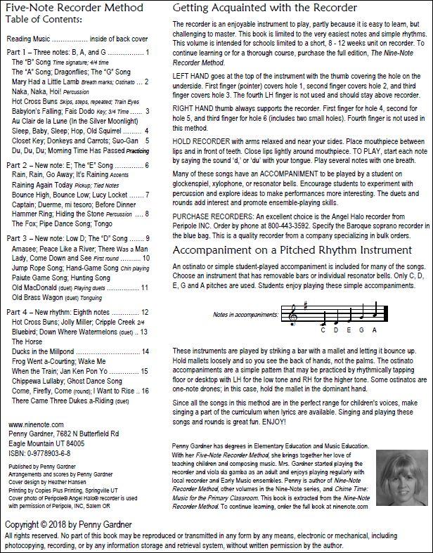 Orff Schulwerk friendly recorder method, elementary music curriculum